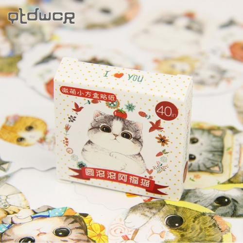 120PCS Lot Cute Fat Cat Mini DIY Paper Sticker Set Decoration Diary Scrapbooking Seal Sticker