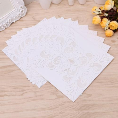Hot 10Pcs white Flower Wedding Invitation Cards Kit Envelopes Seals Personalized Printing