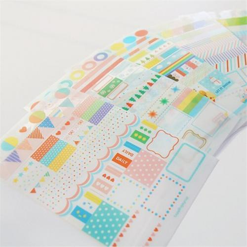6sheets lot DIY Cute Kawaii PVC Sticker Transparent Rainbow Stickers For Home Decoration