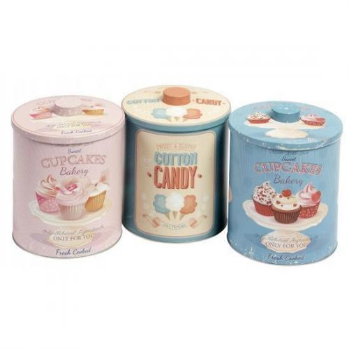 Metalen bewaardozen cotton candy - Koektrommels