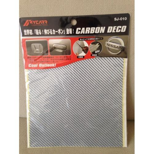 Witte carbon deco sticker - 200 mm x 200 mm - bijna gratis