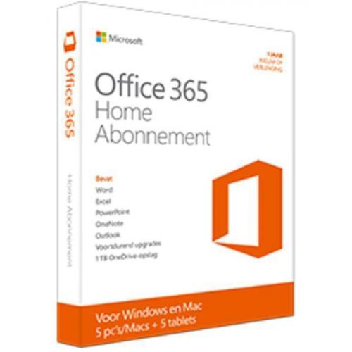 Microsoft Office 365 Home 5-PC/MAC 1 jaar