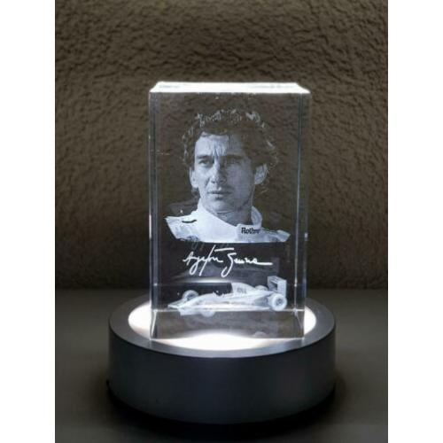 Ayrton Senna 3D laser gegraveerd optical crystal ornament