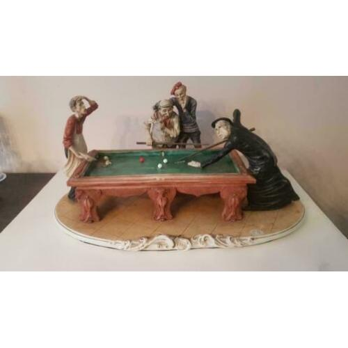 antiek RARE CAPODIMONTE BRUNO MERLI OOPS PLAYING BILLIARDS