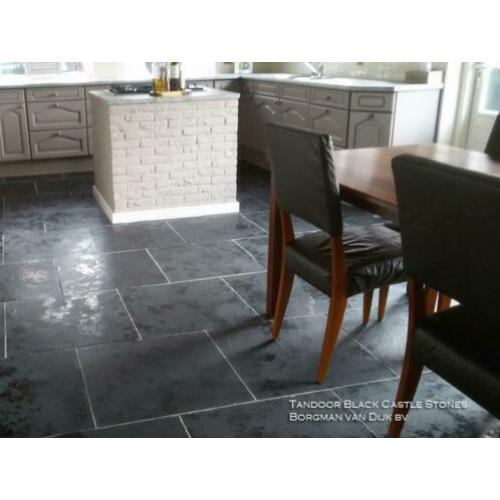Indiaas leisteen vloertegels Castle Stone Black 60x60 cm