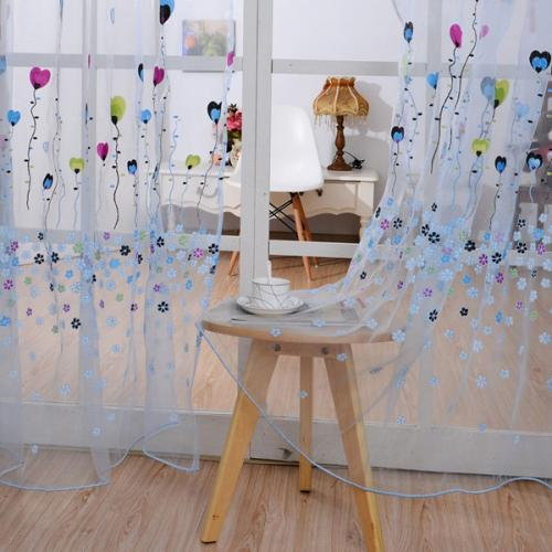 100x200cm Balloon Printing Sheer Window Screen Home Soft Tulle Window Curtain